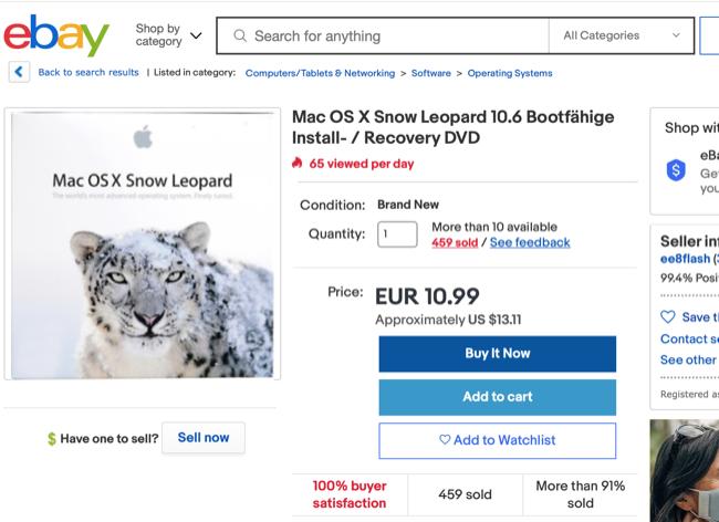 OS X Snow Leopard на eBay