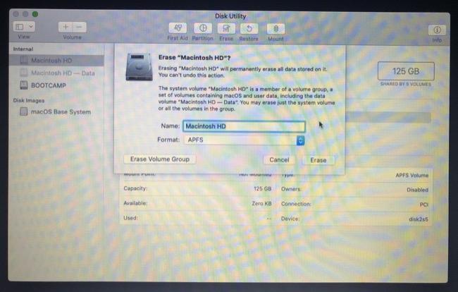 Стереть раздел в режиме восстановления / установки macOS