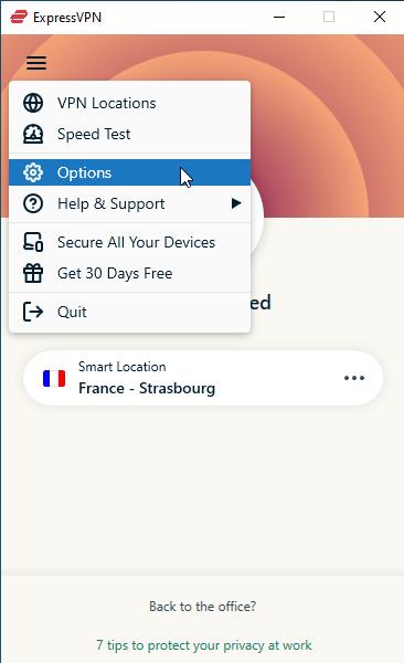 Click menu > Options.