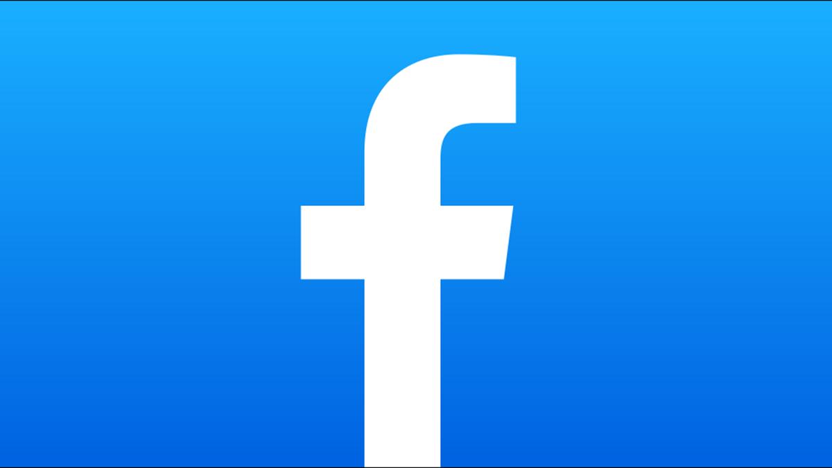 O logotipo do Facebook em um fundo gradiente.