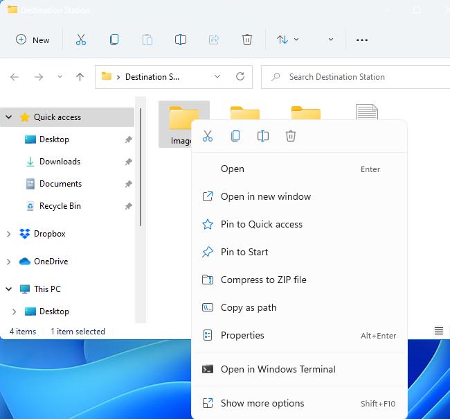 File Explorer's context menu on Windows 11.