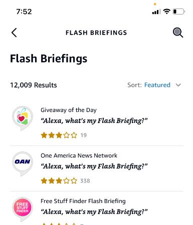 flash briefing list