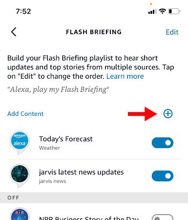 flash briefing screen
