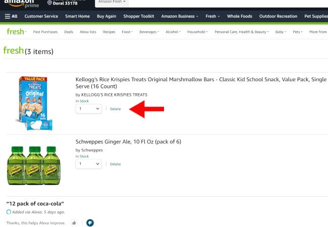 Amazon Fresh shopping cart page.