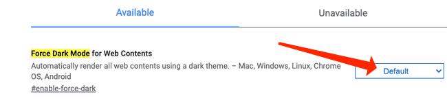 """В результатах поиска вы увидите """"Включить темный режим для веб-содержимого."""""""