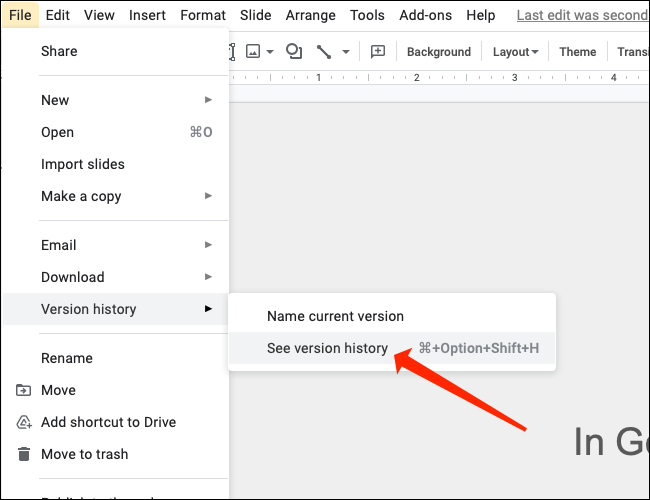 """To check old versions of your Google Slides presentation, select """"See version history."""""""