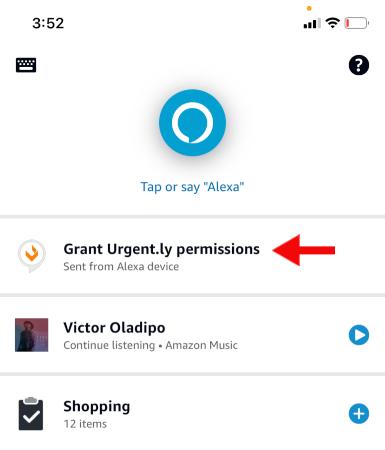 Grant Urgently permissions in Alexa app.