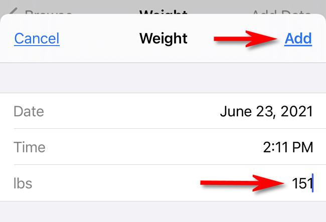 """Enter a weight then app """"Add."""""""