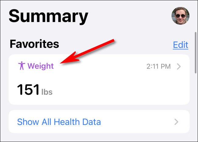 """The """"Weight"""" category shown on the Health """"Summary"""" page."""