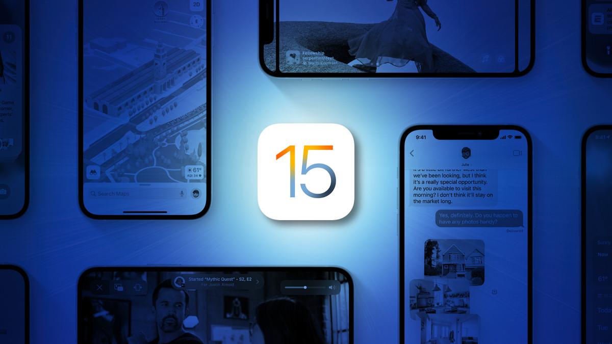Apple iOS 15 Logo on a blue background