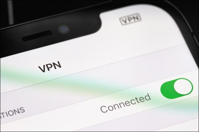 The VPN connection indicator on an iPhone.
