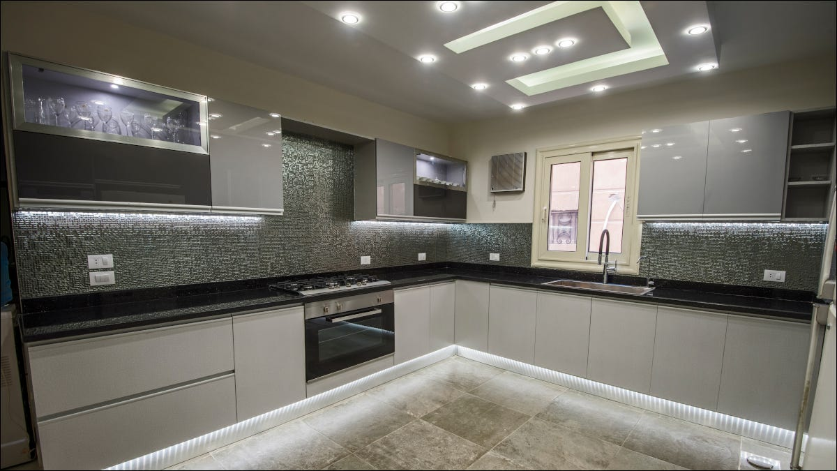 Modern kitchen equipped with smart lights