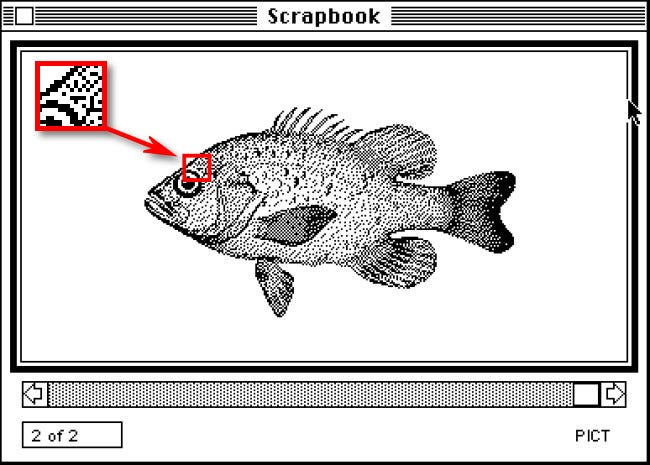 An example of 1-bit monochrome graphics in Mac System 1.0 from 1984.