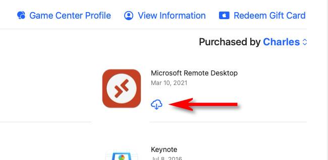 """В Mac App Store щелкните значок """"скачать"""" кнопка (облако со стрелкой внутри)."""