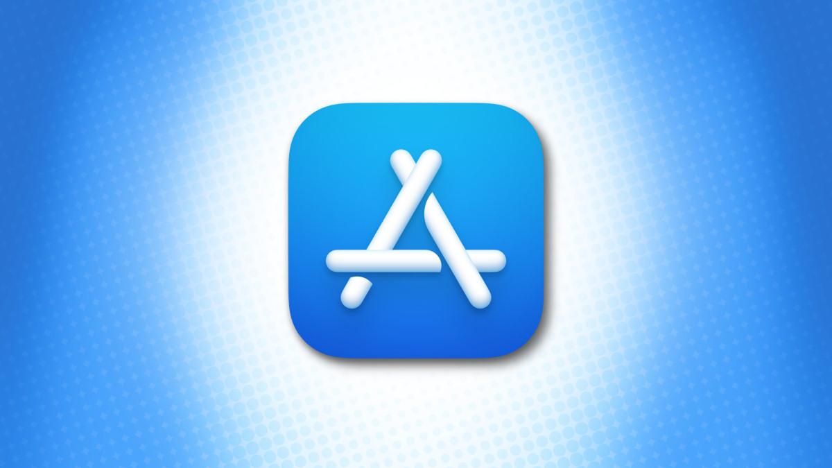 Логотип Apple Mac App Store на синем фоне