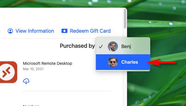 """После нажатия на """"Приобретено"""" в меню выберите учетную запись, из которой вы хотите загружать приложения."""