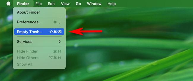 Select Finder > Empty Trash in the menu bar.
