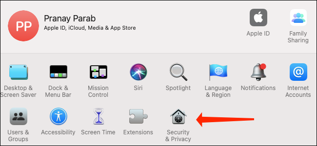 """Click """"Security & Privacy"""" in macOS Big Sur System Preferences."""
