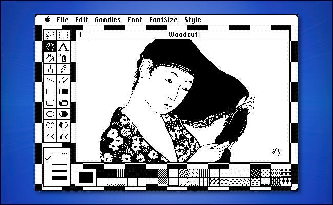 An example of MacPaint running in System 1.0 on a Mac.