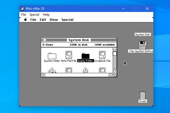 The Mini vMac Emulator running on Windows 10.