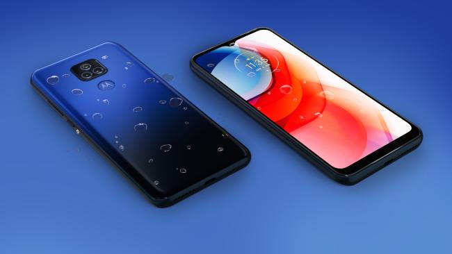 wet blue motorola phone on blue background