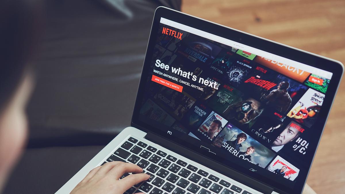 Netflix website on a laptop