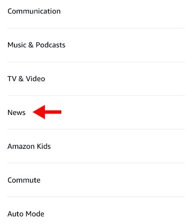 news option under settings