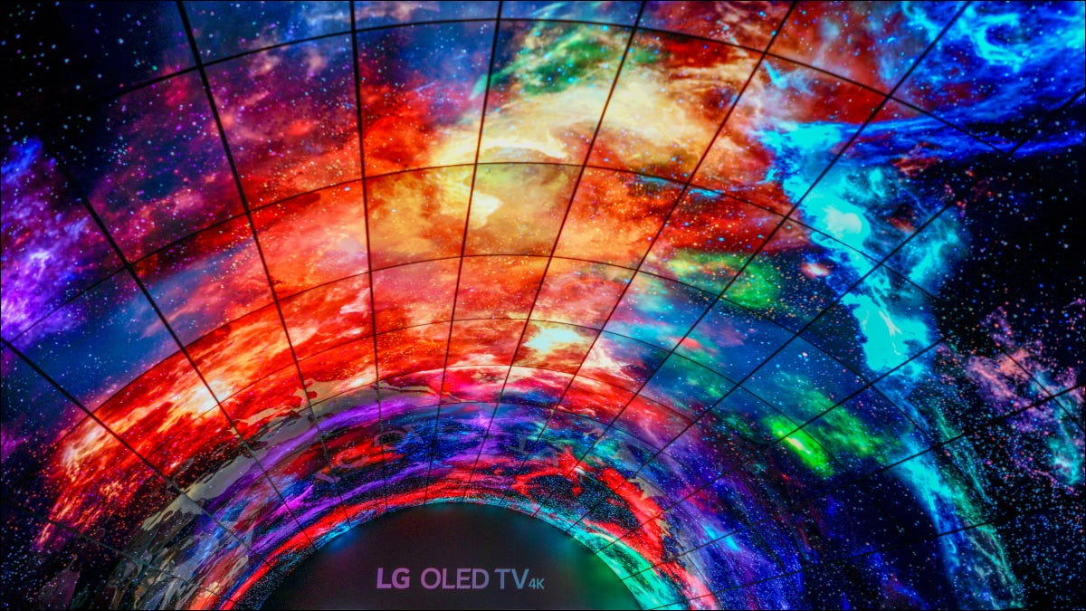 An overhead display made of LG's OLED TV panels.
