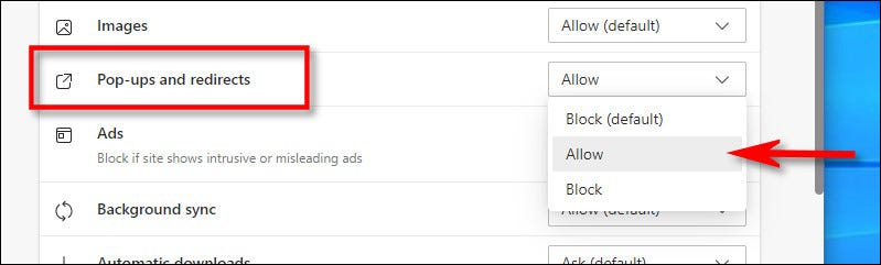 "Select ""Allow"" in the drop-down menu."