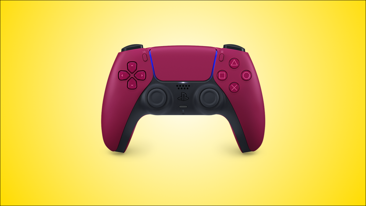 The red color variant of the DualSense PS5 controller, against a yellow background.