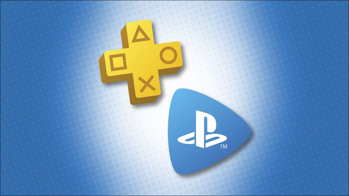 PlayStation Plus and PlayStation Now logos on a blue background