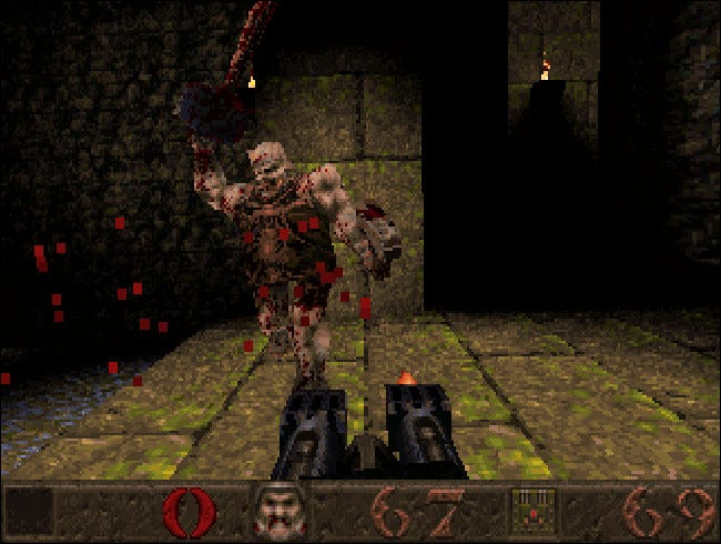 Quake as most people saw it in 1996, running in 320x200 (stretched to 4:3 ratio here).