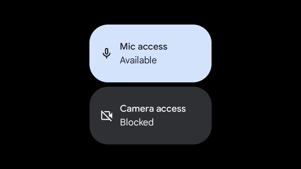 Android 12 Quick Settings access tiles.