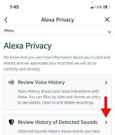 Alexa Privacy page on Alexa app.
