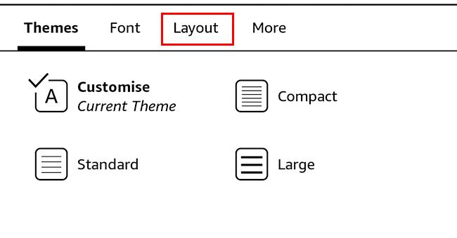 kindle display settings
