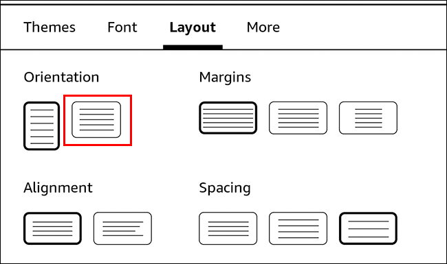 kindle layout options