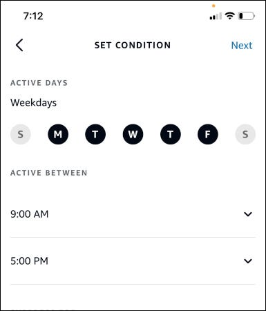 set conditions for your routine