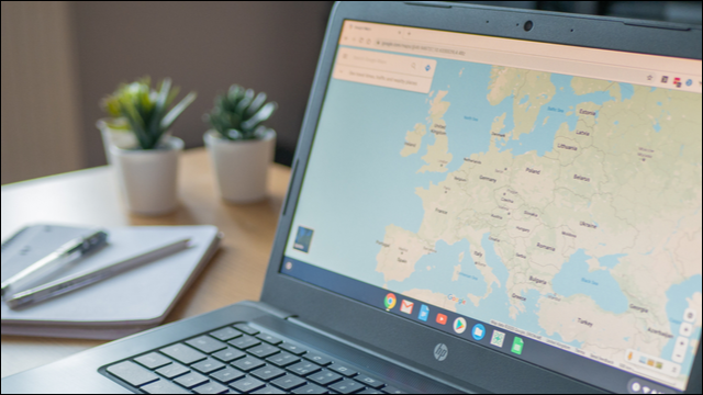 Chromebook with Google Maps open