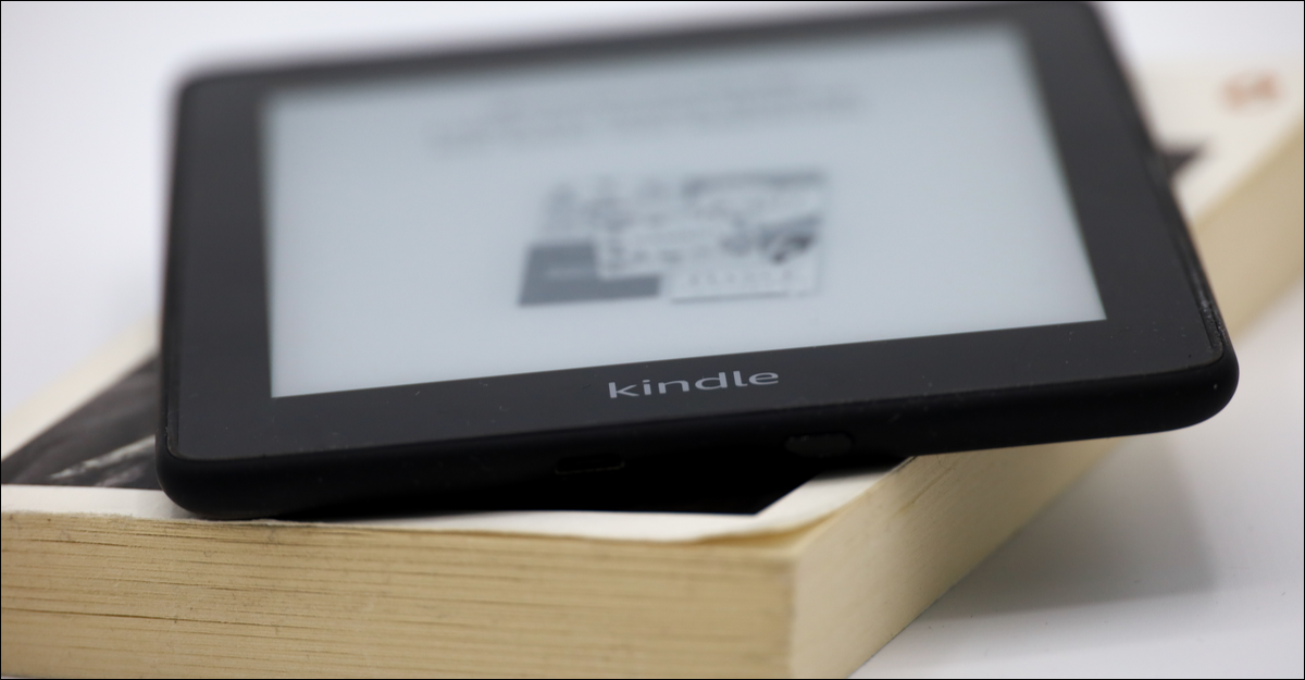 Kindle on a book