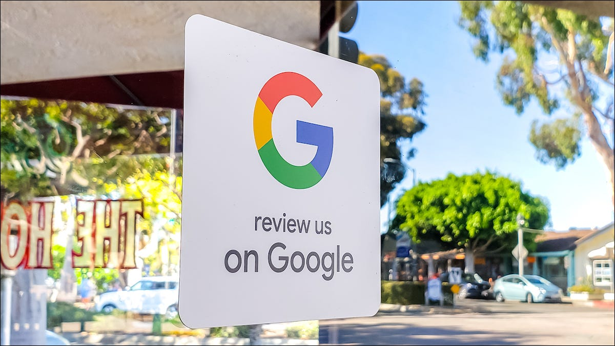 """Sign that reads """"Review us on Google"""""""