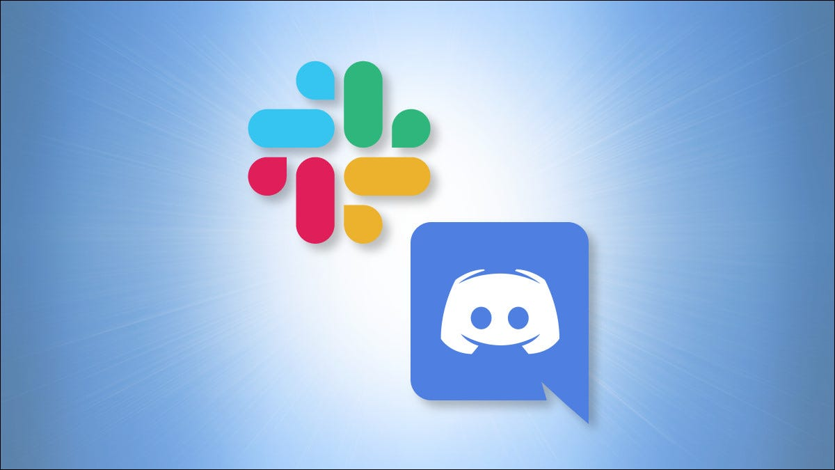 Slack and Discord logos on a blue background