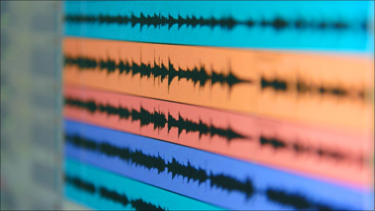 Sound wave files displayed on a monitor