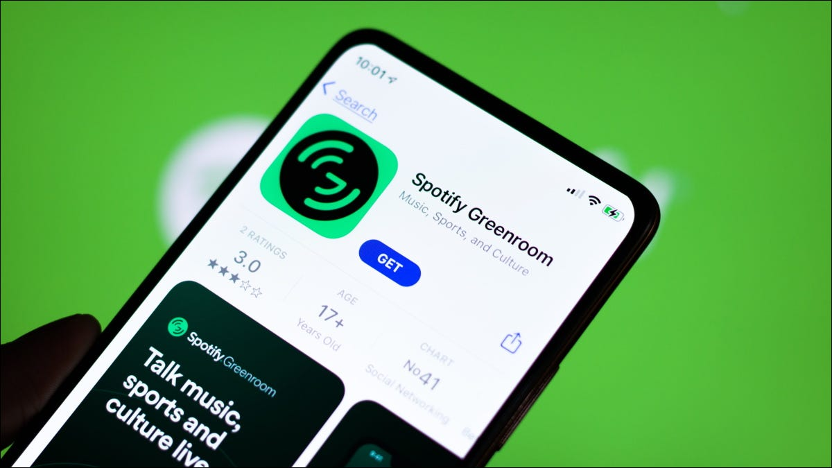 Installing the Spotify Greenroom app from the App Store on iPhone.