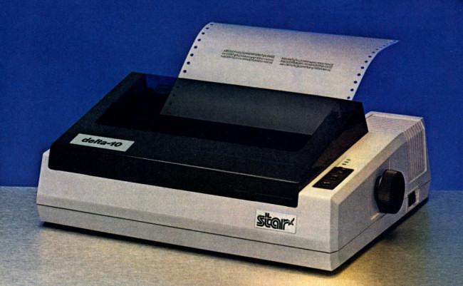 A Star Delta-10 dot matrix printer.