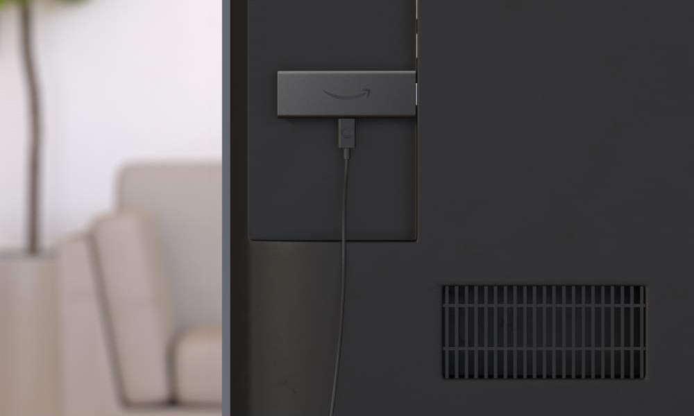 Amazon stick plugged into back of TV