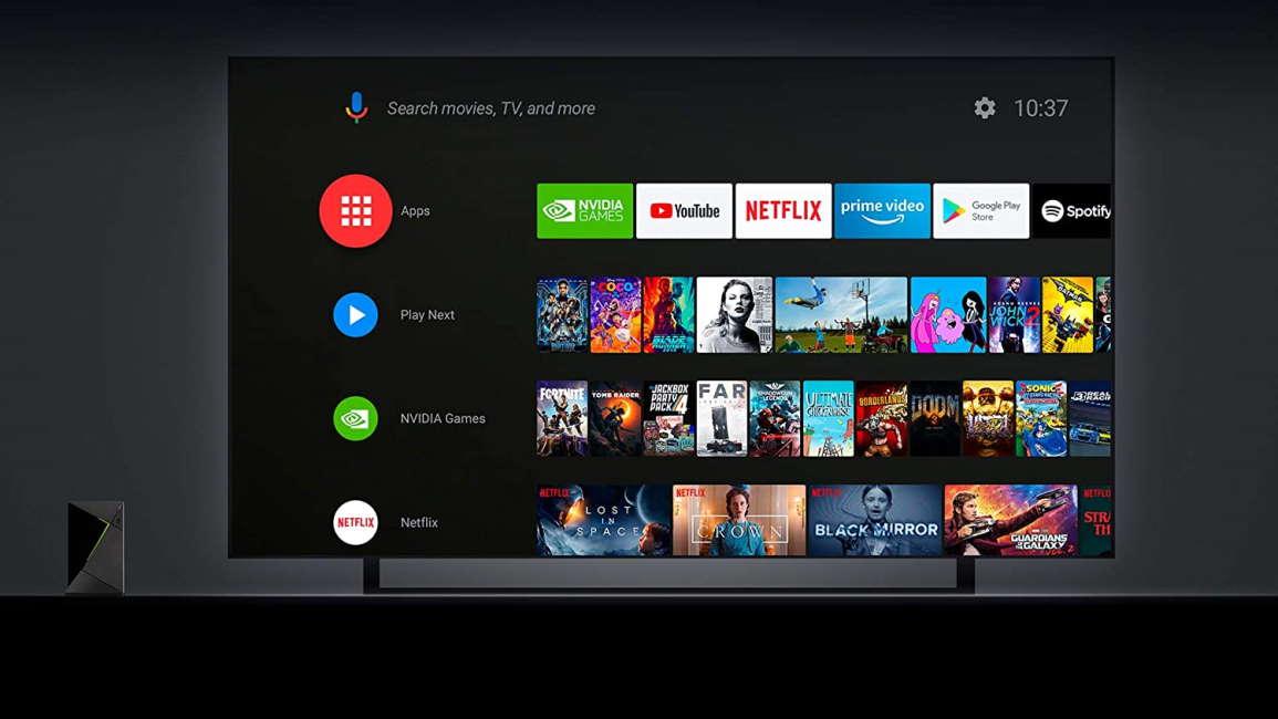 TV in dark room with nvidia shield