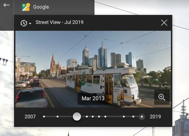 Перетащите ползунок, чтобы просмотреть старые или новые изображения просмотра улиц