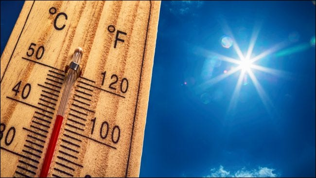 A rising thermometer in the light of the sun