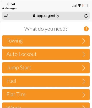 Service options page on Urgently app