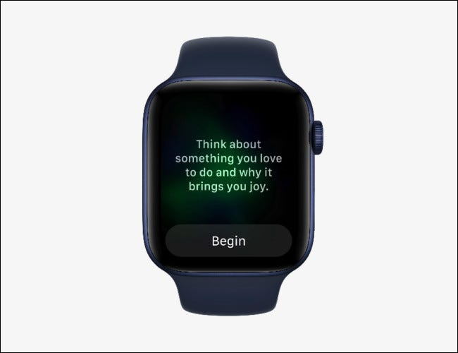 Apple Watch showing the Mindfulness app on watchOS 8.